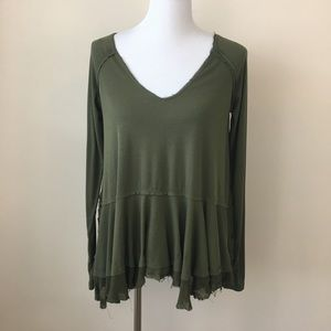Free People Green Ribbed V-Neck Raw Edge Top XS